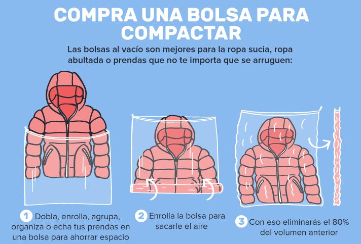 ahorrar espacio maleta bolsas vacío