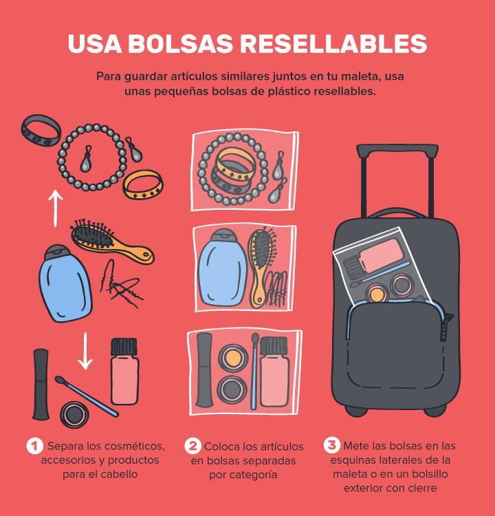 ahorrar espacio maleta bolsas plastico