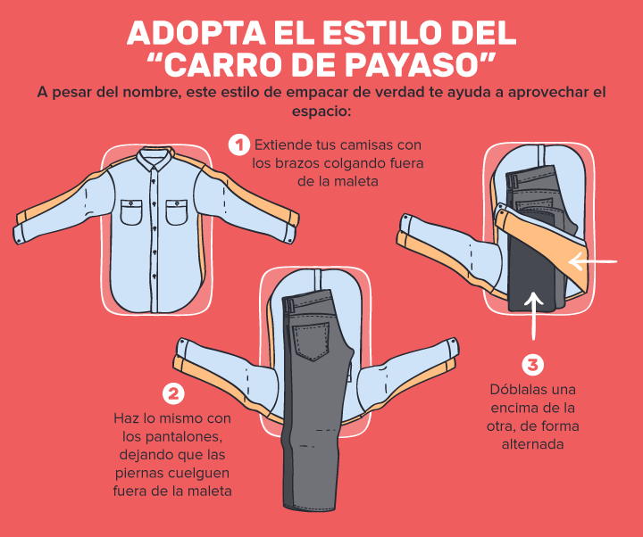 ahorra espacio maleta estilo payaso