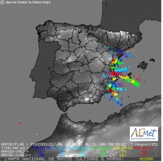 Más de 200 rayos registrados durante la pasada madrugada en la Región