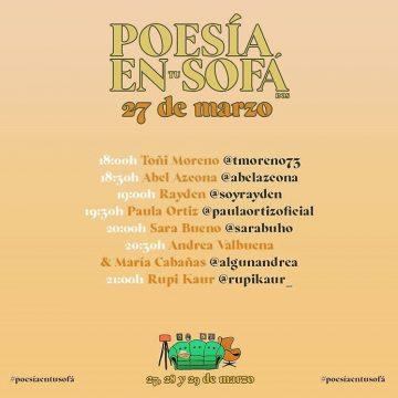 II Edición de 'Poesía en tu sofá' llega con un cartel que no puedes perderte