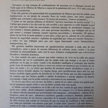 Una persona sin hogar relata en una carta su experiencia en el albergue El Valle y agradece su trabajo al SEMAS y a Cáritas
