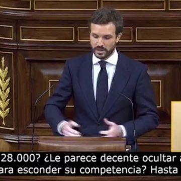"""Pablo Casado: """"¿Le paree decente ocultar a sus muertos para esconder su incompetencia?"""""""