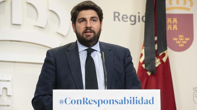 Fernando López Miras pide al Gobierno central habilitar el confinamiento domiciliario