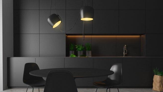 ¿Cómo conseguir una bonita decoración con lámparas negras?