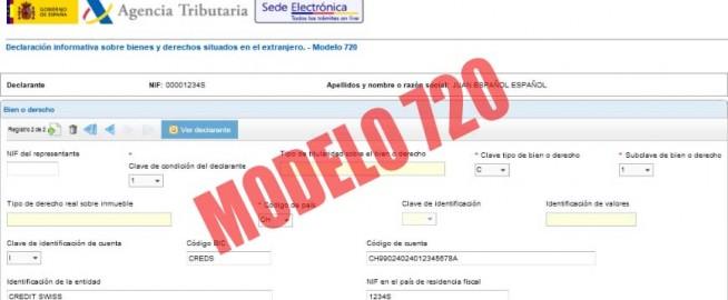 Modelo 720, declaración sobre bienes y derechos situados en el extranjero