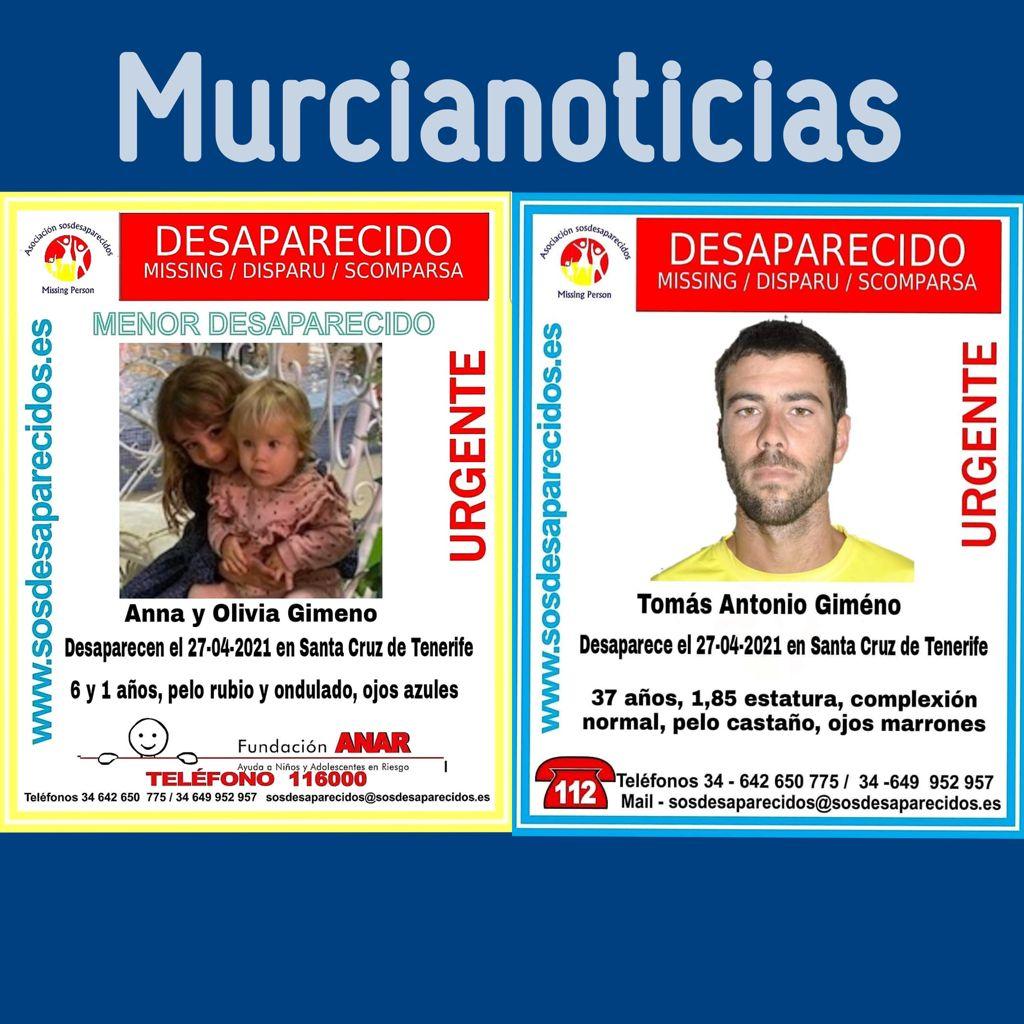Desaparecidas dos niñas y su padre en Tenerife.