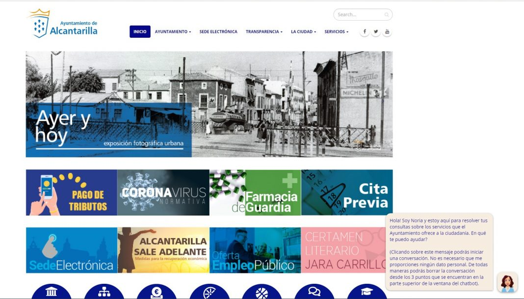 Página web del Ayuntamiento de Alcantarilla con el asistente virtual 'Noria'