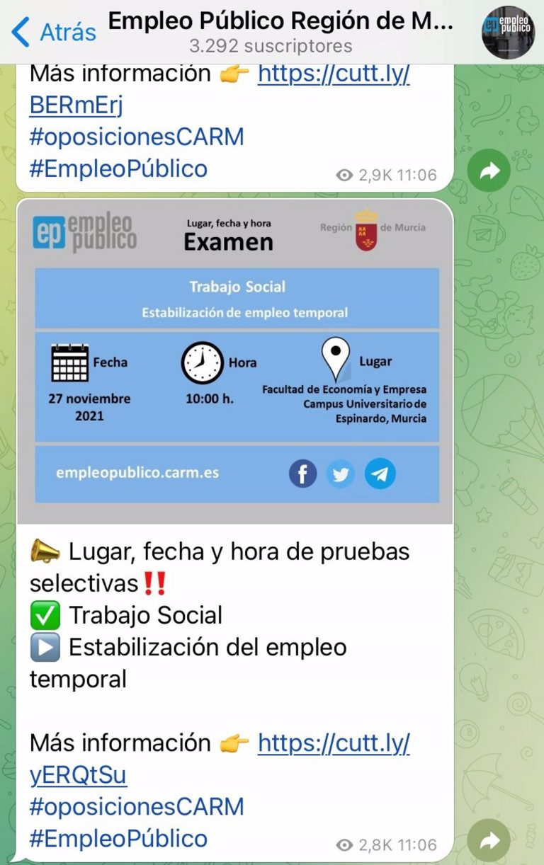 Más de 3.000 personas reciben por Telegram las convocatorias de empleo público