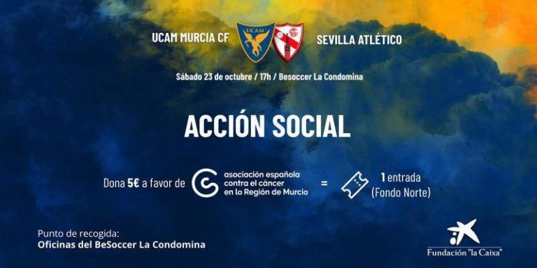 UCAM Murcia – Sevilla Atlético, a beneficio de la Asociación Española Contra el Cáncer